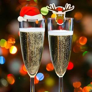 Tarjetas navideñas de decoración de copas y vasos